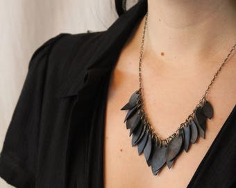 Black feathers on brass chain necklace - handmade from upcycled bike inner tubes