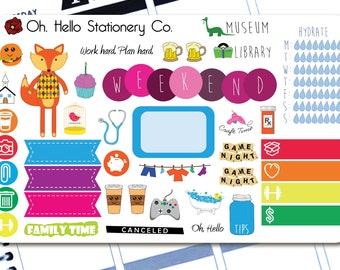41 Sticker Large Sampler Set #2  - Planner Stickers for Erin Condren Life Planners - R7