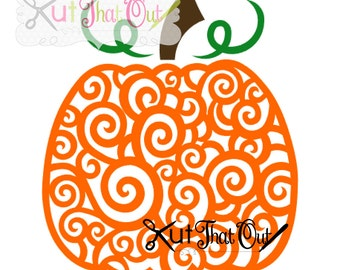 EXCLUSIVE Swirl Scroll Pumpkin SVG and DXF File
