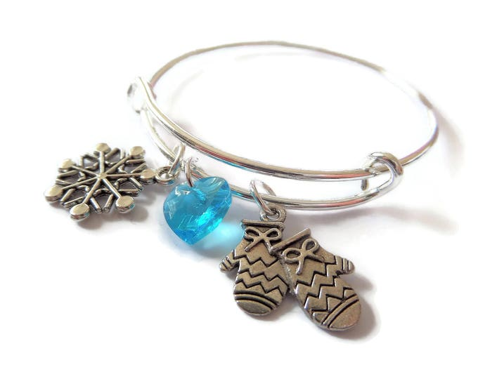 Frozen bangle, skating bracelet, frozen bracelet, winter gift, snowflake bracelet, princess favors, princess gift, princess bangle