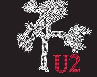 "U2 Joshua Tree logo+U2 (8.5 ""x 8.7"") in Brilliant clear and red rhinestones T-shirt or Tank Top-**Free shipping in the U.S.**"