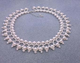 """Beading4perfectionists:  """"The Queen's pearls""""  ADVANCED tutorial. Necklace beading pattern PDF file"""