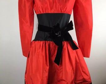 Lawrence 80s Prom Dress Neiman Marcus 100% Silk Red Black Crinoline Puffy Sleeve