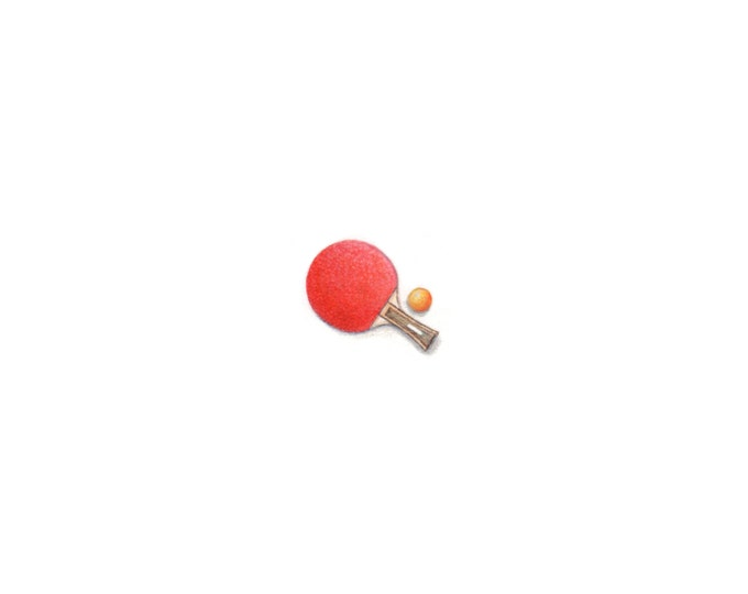 """Print of miniature painting of a Ping Pong Paddle. 1 1/4"""" x 1 1/4"""" print of original Ping Pong painting on 5"""" square german etching paper"""