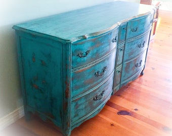 SOLD - Vintage Dresser, distressed, blue, french country, buffet, sideboard, rustic, large, shabby chic, dresser, farmhouse, provincial