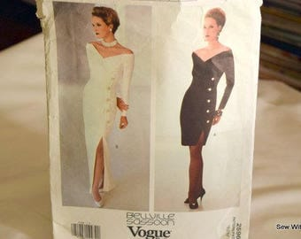 Vogue  Pattern 2596 Designer Original BELLVILLE SASSOON  Misses 1990s Close Fitting Gown Sizes 6-8-10