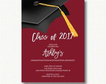 Graduation Invitation, Class of 2017, Graduation, Cap, Hat, Black, Maroon, Tassel, Modern, Grad, Party, Unique, Digital Printable Invitation