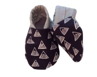 Monochrome Mountain Soft Sole Baby Shoes, booties, pram shoes