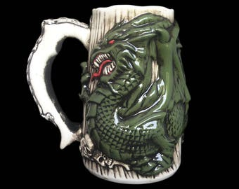 DRAGON Beer Stein, DRAGON Mug, Hand-painted Dragon mug