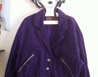 SALE! 80s purple denim jacket, motorcycle jacket shape, a bit oversize / medium