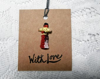4 Worry Doll Gift Tags - With Love Eco Friendly Recycled Card and Fair Trade Worry Doll Gift Tags - Birthday Anniversary Wedding