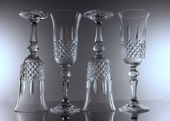 Champagne Flutes, Czechoslovakia, Crystal Guild, 24 % Leaded Cut Crystal, Set of 4,  Wine Glasses, Barware