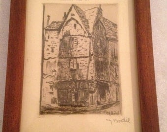 """Lithograph signed Ch. BODEL """"Old houses of the fifteenth"""" + frame"""