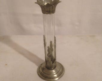 Old pewter + early 20th century Vintage punch glass Soliflore vase
