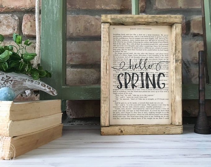 "Book Page Art with ""Hello Spring"" 