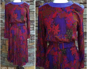 Burgundy and purple  long sleeve swirly floral secretary dress with wide belt - plus