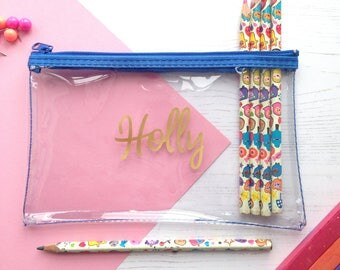 Personalised Clear Pencil Case With Zip Perfect for School Pencils