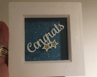 Congratulations gift - Congrats framed papercut - wall art - small gift - congratulations - graduation gift - housewarming gift - new job