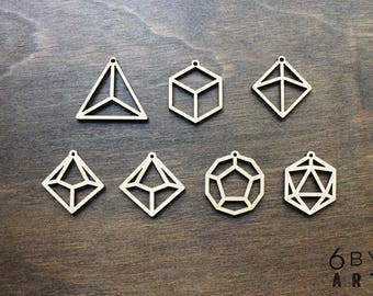 Dungeons and Dragons Geometric Shape Laser Cut Wood Charms
