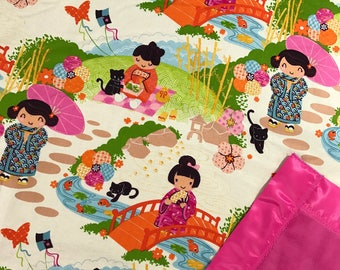 "Japanese Girl Blanket with Minky Blanket and Pink Satin Binding, 46""x49"""