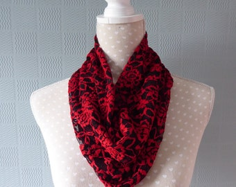 red and black snood, stretch lace cowl , gothic loop snood scarf, steampunk scarf