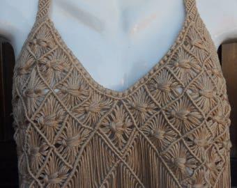 Women's Clothing, Handmade Dress, Crochet Halter, Bohemian Clothing, Bicini Cover up, Knited Dress, Boho Fringe Top