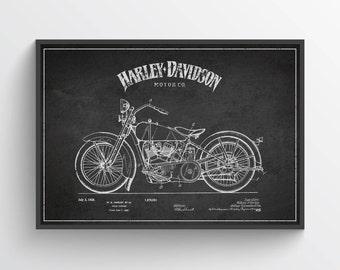 1928 Harley Davidson Patent Wall Art Poster, Harley Davidson Poster, Harley Davidson Print, Home Decor, Gift Idea, TRBM03P