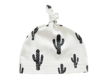 Cactus Organic Baby Knotted Beanie, Organic Baby Beanie, Baby Hat, Newborn Beanie, Topknot Beanie