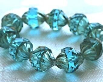 Six Czech glass turbine beads, 11 x 10mm Aqua Blue beads with a silver mercury picasso finish, saturn beads  C62101