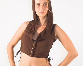 Woven Hooded Vest made with 100% Bamboo, Woven Bamboo Hooded Vest, Hooded Vest, Organic Bamboo Clothing, Vest