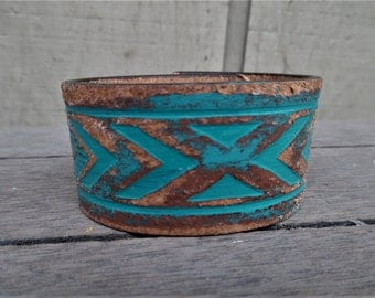 Turquoise Brown Painted Distressed Southwest Tribal Upcycled Leather Cuff Bracelet