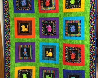 Quilted Cool Cat Quilt