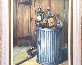Vintage Signed Original Oil Painting Still Life with Trashcan & Bottles by Mary Robbins