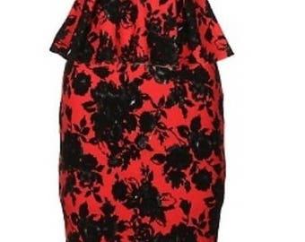 Rose Peplum two-piece strapless midi skirt set