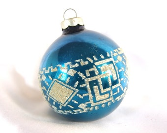 Vintage Blue Christmas Ornament with Venetian Dew Geometric Design, USA Ornament