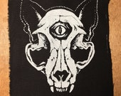 Third Eye Cat Skull Screenprinted Pach