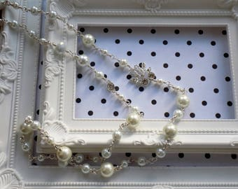 White glass pearl long necklace