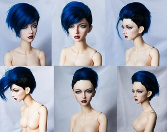 Short with medium long top angora fur wig for bjd