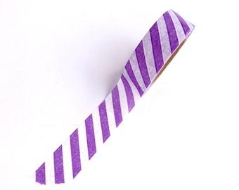 Washi Tape Purple Stripes Diagonal