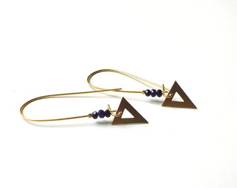 MISSY earrings / / Tan Tao: curved hook, Crystal and golden triangle beads