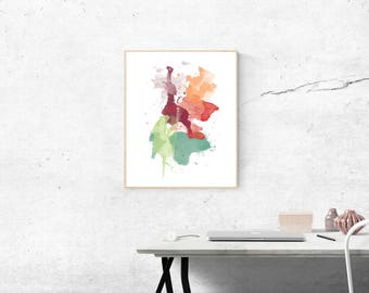 Navajo Watercolor Splash, Wall Art, Printable, Navaho Colors, Watercolour