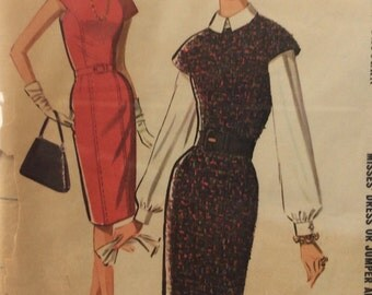 McCall's 6926 misses slim dress or jumper and blouse size 16 bust 36 vintage 1960's sewing pattern  Uncut  Factory folds