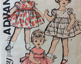 Advance 2806 girls dress size 2 vintage 1950's sewing pattern