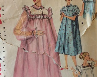 Simplicity 4936 vintage 1950's misses nightgown & negligee sewing pattern size 20 bust 38