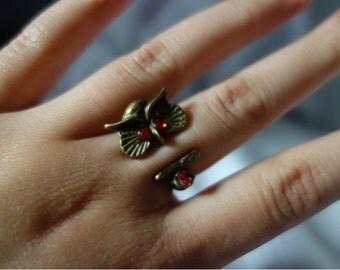 Bronze Owl Adjustable Ring