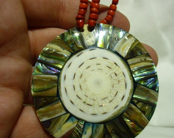 B3 Eye Catching Multi Color Shell Pendant.