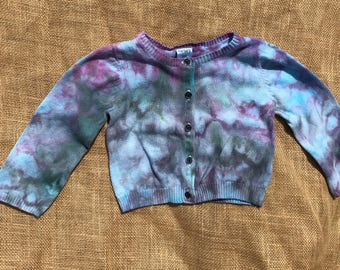 Hand Dyed - Carter Brand Baby/Toddler Cardigan Sweater - (18 months) - Ice Dyed