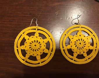 Yellow crochet hoop earrings