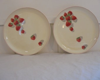 Rare Vintage Cavitt Shaw Division W.S. George Shortcake Patter Strawberry Design 10 Inch Dinner Plate 1940's Era Strawberry Dish