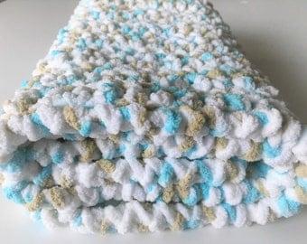 Crochet Baby Blanket, Handmade Blanket, Aqua Baby Blanket, Crochet Blanket, Multicolor Blanket, Newborn Blanket, Free Shipping, Photo Prop